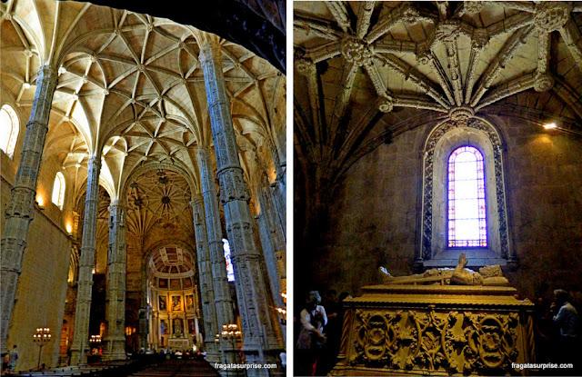 Túmulo de Camões e colunas da Igreja de Santa Maria, no Mosteiro dos Jerónimos, Lisboa