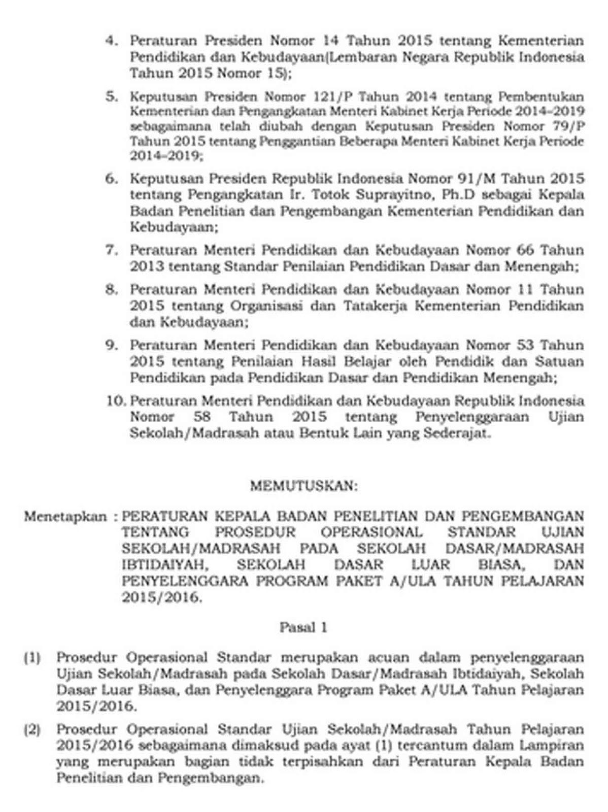 POS dan KISI-KISI UJIAN SEKOLAH SD/MI 2016