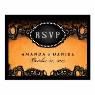 Orange & Black Elegant Halloween Wedding Menu RSVP Postcard
