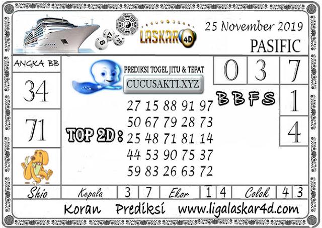 Prediksi Togel PASIFIC LASKAR4D 25  NOVEMBER 2019