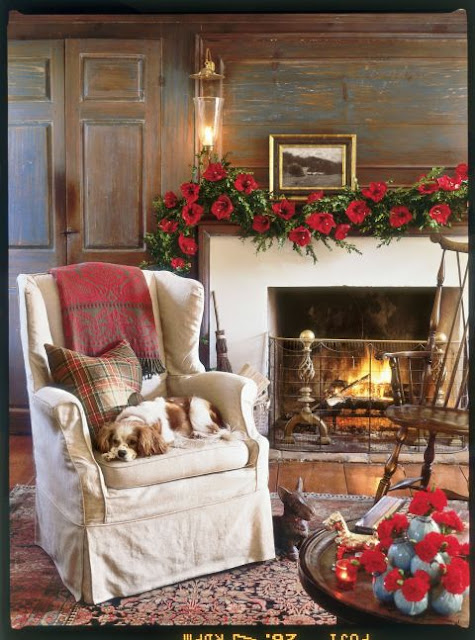 image result for beautiful country Pennsylvania room dog decorated for Christmas elegant sophisticated interior design