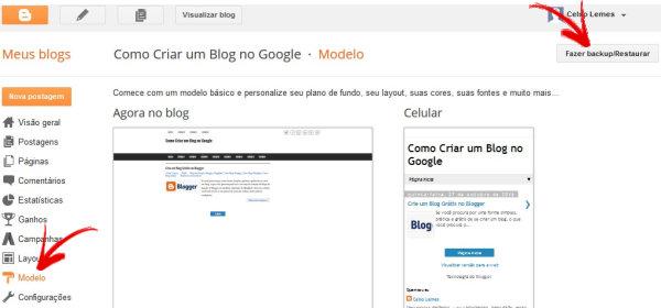 Como Trocar o Modelo do Blogger