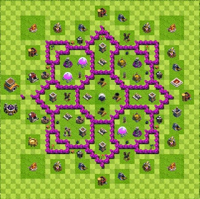 Base layout town hall level 8 tipe farming coc indonesia