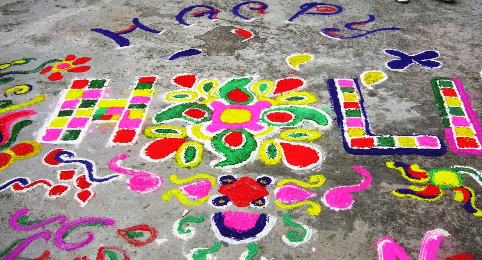 Happy Holi Large Rangoli Design Wallpapers Download - HD ...