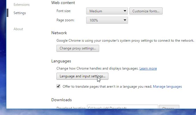 Cài đặt ngôn ngữ cho Chrome