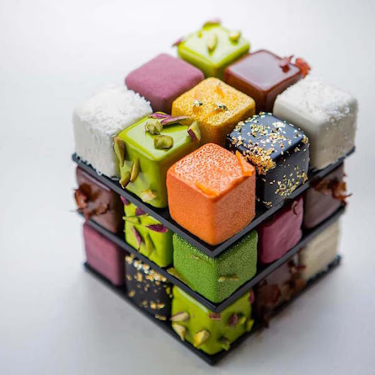 Impressive Geometric Pastry Created by French Chef to Resemble A Rubik's Cube