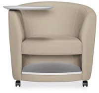 Global Total Office Sirena Tablet Arm Chair with Storage Shelf