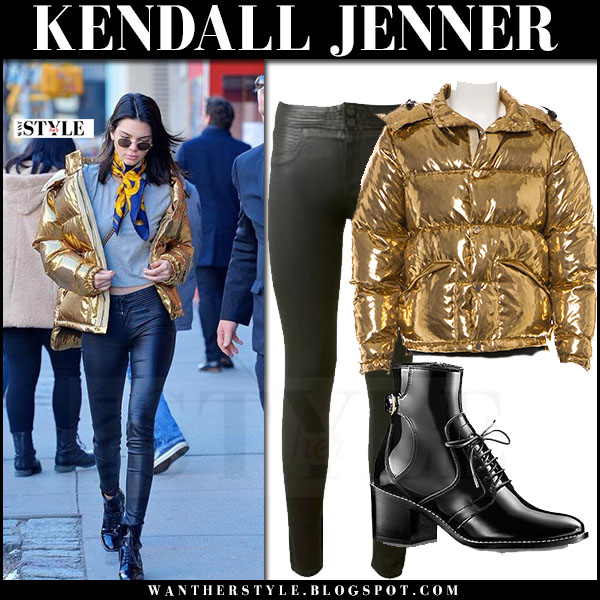 Kendall Jenner in gold down jacket ports 1961 and black leather pants rta elson what she wore