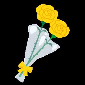 バラの花束のイラスト(父の日・白)
