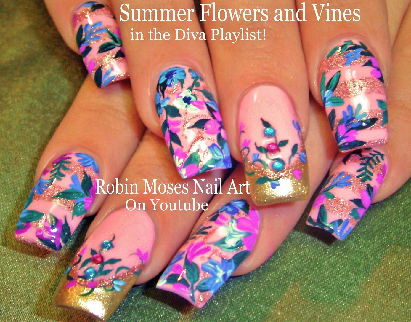 Nail Art by Robin Moses Pink Floral Diva Nails Up Today See Lots