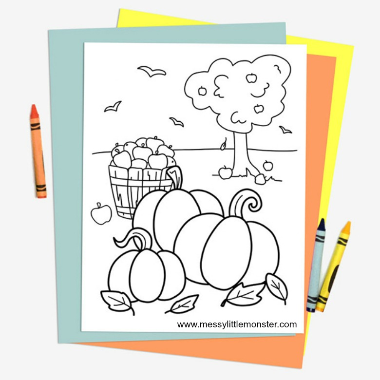 - Free Printable Autumn Colouring Page - Messy Little Monster