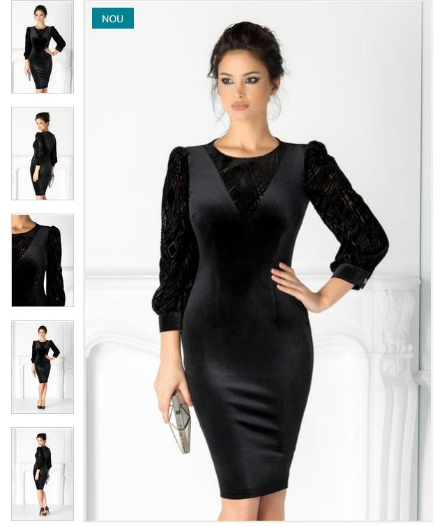 Rochie midi neagra eleganta cu maneci din catifea imprimata