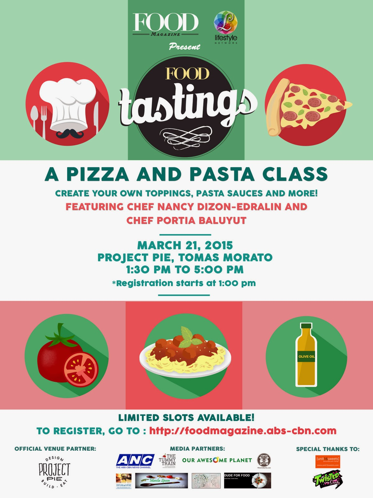 Food Magazine's Food Tastings Series (Free Pizza and Pasta Class)