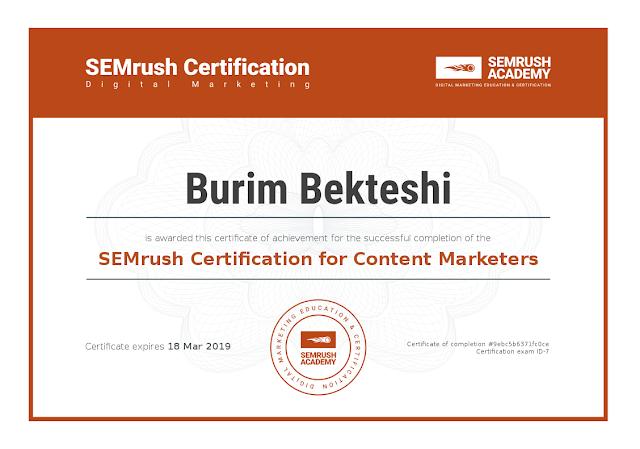 SEMrush Certification for Content Marketers - Burim Bekteshi