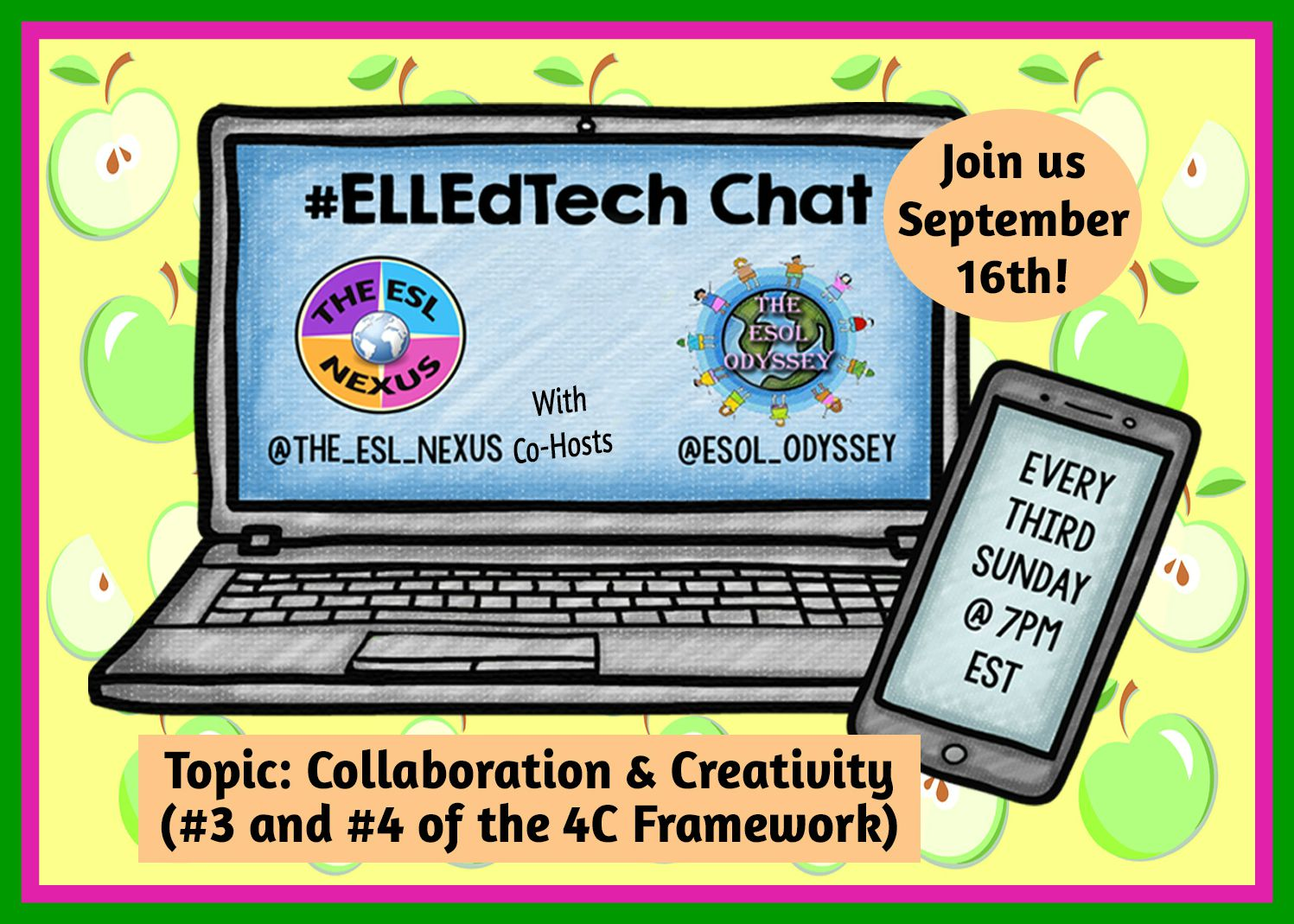 Come join the next #ELLEdTech Twitter chat on September 16th to discuss the 4C topics of Collaboration & Communication.| The ESL Nexus