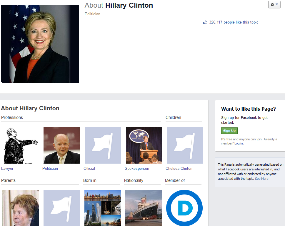 Hillary Clinton auto-generated Facebook page does not have