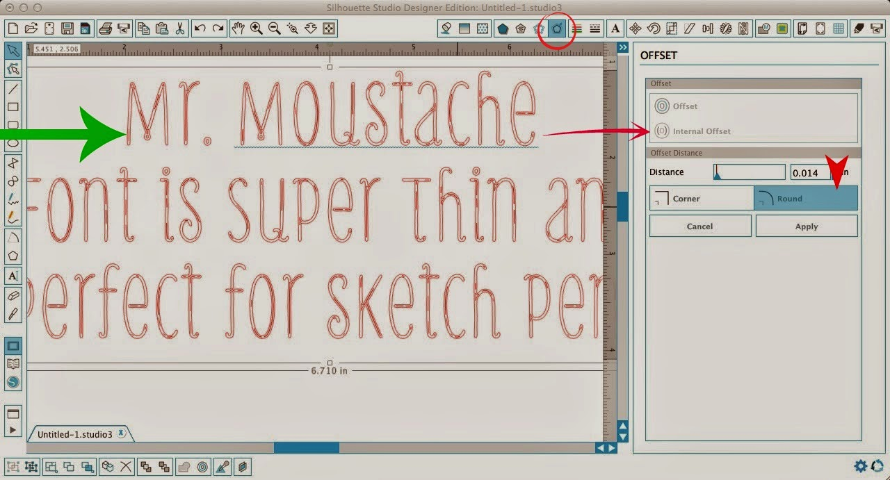 Silhouette sketch pens, thin fonts, Silhouette Studio, Mr. Moustache font, internal offset