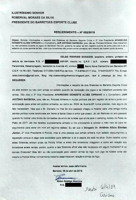 Requerimento 002-2019 BEC - Informações a respeito de porte de arma dos Diretores APARECIDO DONIZETE ALVES CIPRIANO E JAIR ANTÔNIO BARBOSA