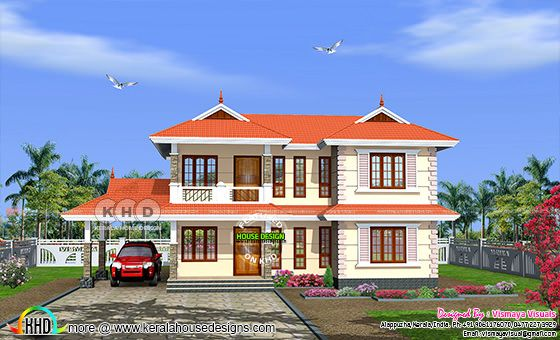 3 bedroom Typical Kerala home 1948 square feet