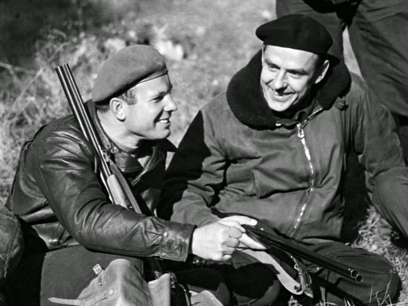 Vladimir Komarov was among Gagarin's best friends. Here they're seen hunting together.