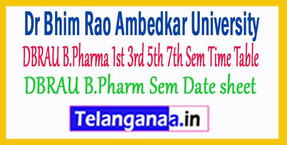 DBRAU B.Pharma 1st 3rd 5th 7th Sem Time Table DBRAU Date sheet