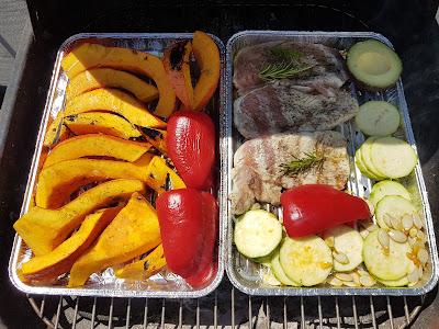 Hokkaido-Kürbis gegrillt mit Putenschnitzel