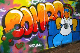 Graffiti on wrecked train car, whistler BC British Columbia train wreck