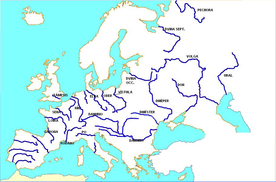 Rios De Europa Mapa Con Nombres.Mapa Hidrografico De Europa Con Nombres