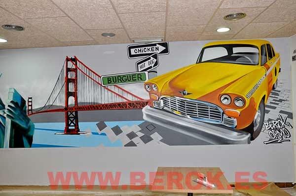 graffiti mural taxi
