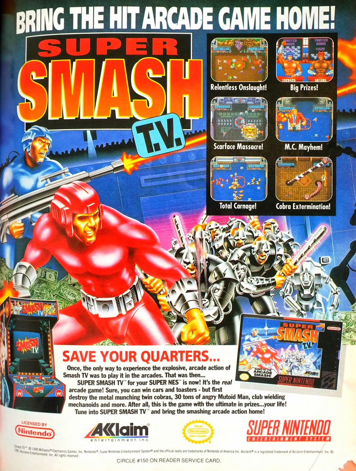 Super Smash TV for Super NES advertisement