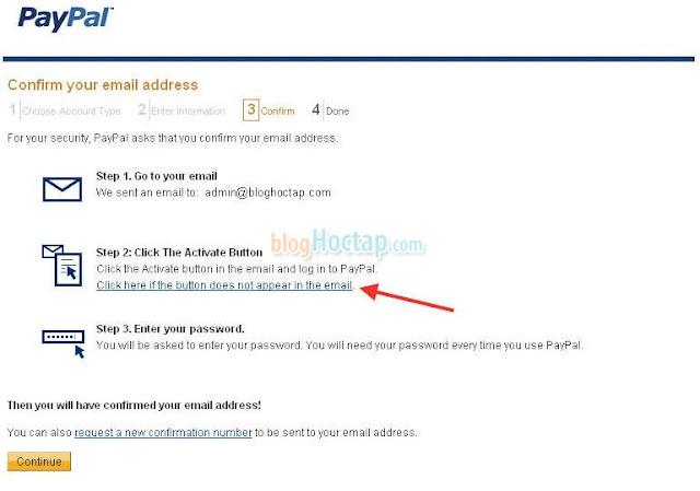 Xác nhận địa chỉ Email cho tài khoản Paypal bước 3