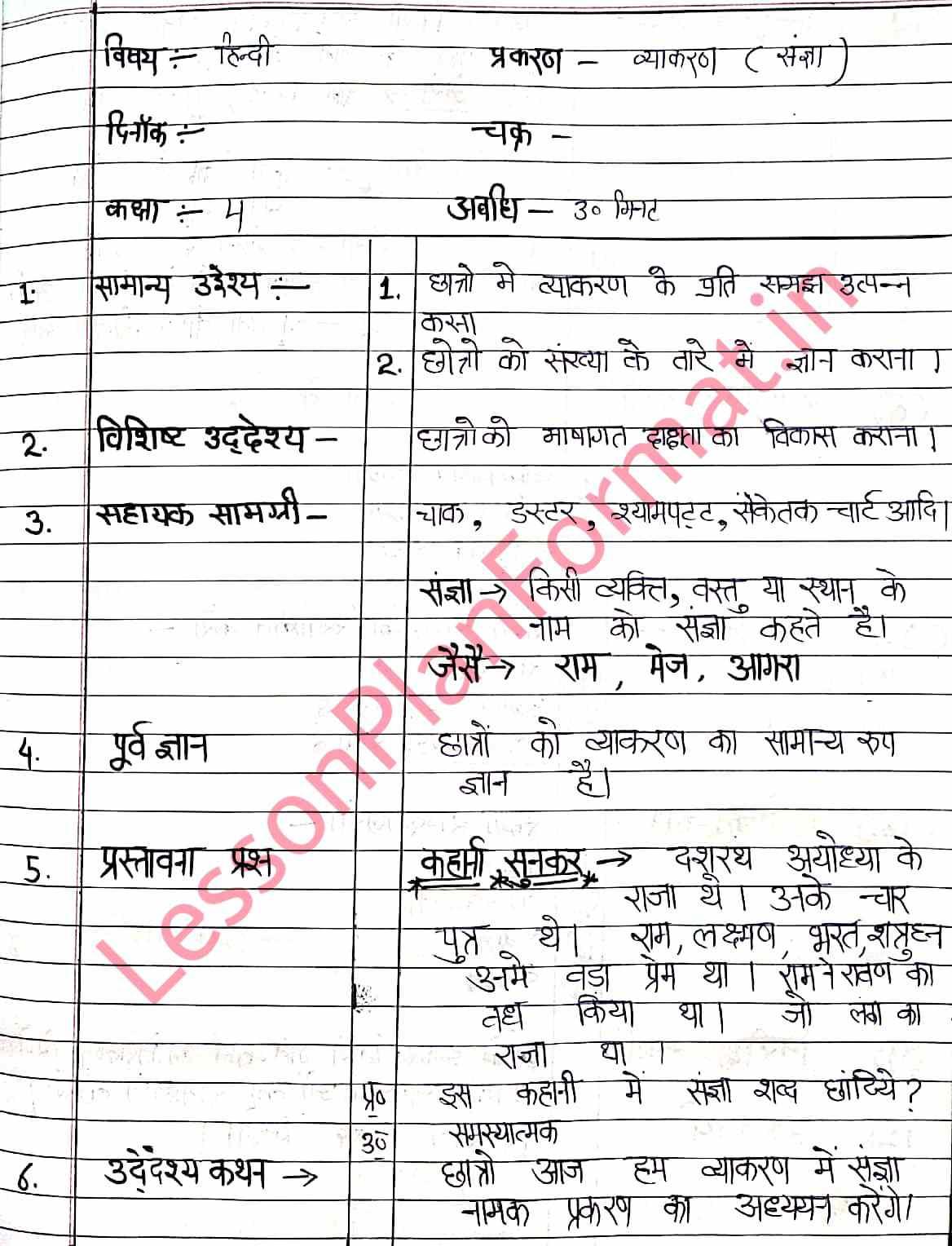Hindi Vyakran Lesson Plan Class 4 Sangya