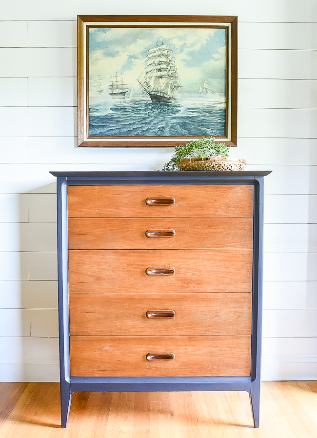 General finishes Coastal Blue MCM dresser makeover