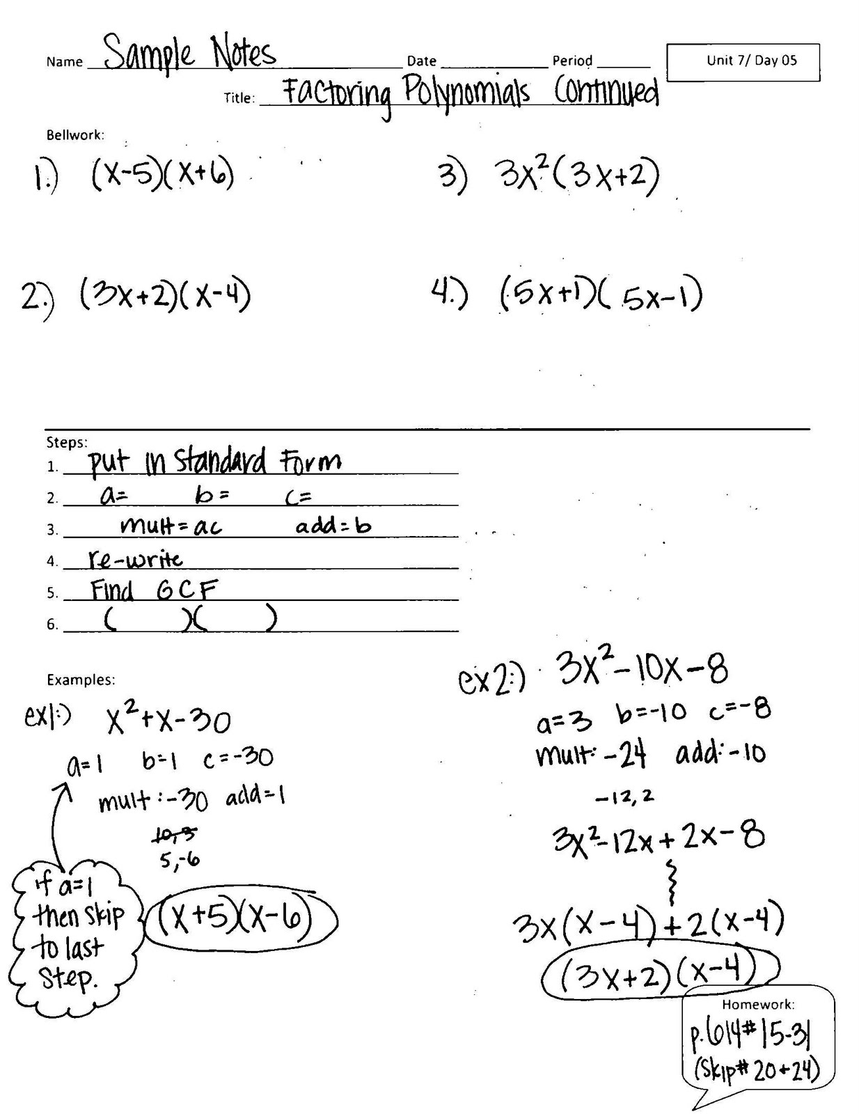 Algebra 1 Unit 7 Day 5 Factoring Polynomials Continued