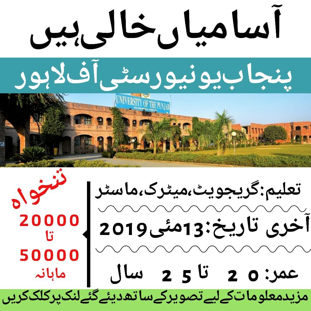 Punjab University of Lahore Jobs 2019 Application form Apply