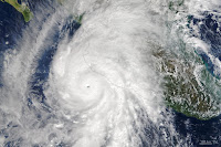 Hurricane Patricia, one of the strongest hurricanes on record, as it neared the coast of Mexico in October 2015. (Credit: NASA) Click to Enlarge.