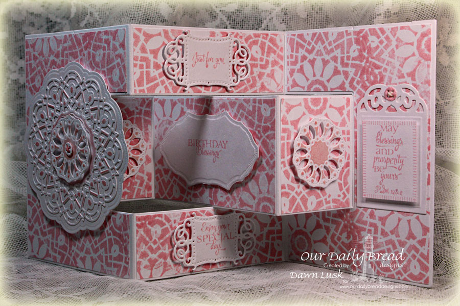 Stamps - Our Daily Bread Designs Birthday Doily, ODBD Custom Doily Die, ODBD Custom Vintage Flourish Pattern Die, ODBD Custom Recipe Card and Tags Dies, ODBD Fun and Fancy Fold Tri-Shutter Card