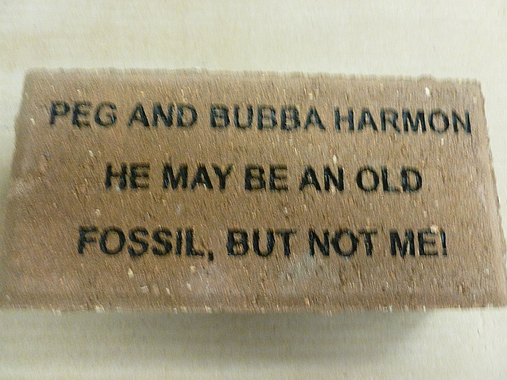 "Peg and Bubba support the Mammoth Site ""Buy a Brick"" program"