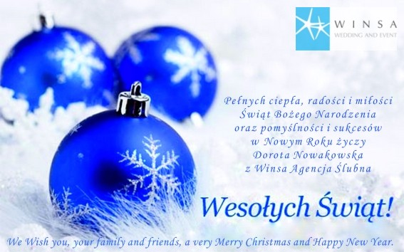 Życzenie na Boże Narodzenie, Życzenia Świąteczne, Kartka Świąteczna, Agencja Ślubna Winsa, Konsultanci Ślubni, Blog Ślubny