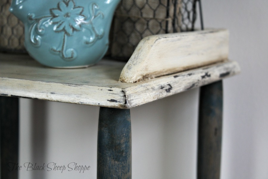 I used a butter knife to chip away some of the Old White chalk paint.