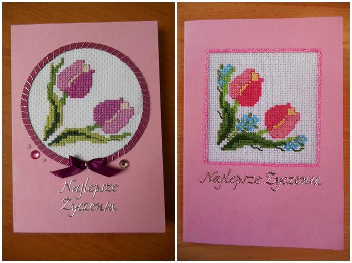 kartki z haftowanymi tulipanami