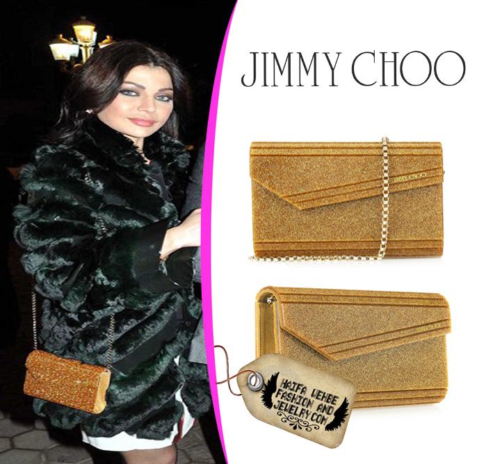 Haifa Wehbe Wearing Jimmy Choo Gold Candy Glitter Acrylic Clutch 5598cc155d65e