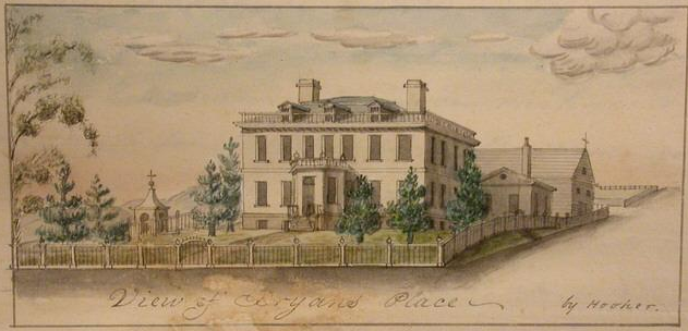 Historic Schuyler Mansion on a postcard, with a fence and landscaping