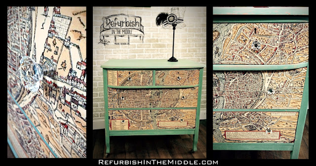 assortment of pictures showing the vintage dresser decoupaged map details
