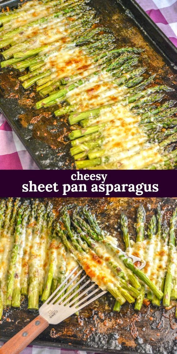GARLIC ROASTED CHEESY SHEET PAN ASPARAGUS | An easy sìde dìsh, thìs roasted garlìc asparagus ìs cooked on a sìngle sheet pan wìth a cheesy toppìng. #recipes #cheesy #breakfast #garlic #food #asparagus