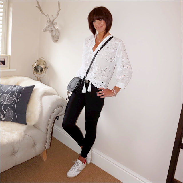 My midlife fashion, golden goose superstar low top leather trainers, twist and tango combat trousers, monsoon ivy schiffli blouse, chloe marcel cross body bag, the kooples studded belt