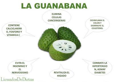 La guanabana es una fruta que evita el insomnio y el nerviosismo, también combate la hipertension y asma, tiene una alta composicion de calcio y vitamina c.