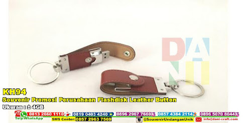 Souvenir Promosi Perusahaan Flashdisk Leather Button