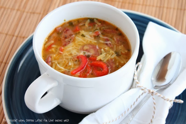 Roasted Red Pepper and Chicken Sausage Orzo Soup is a delicious and comforting meal idea your family will love!