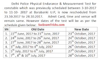 Delhi Police PET Exam Date